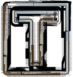 Grunge font letter t vector