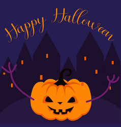 happy halloween spooky pumpkin greeting card vector image vector image