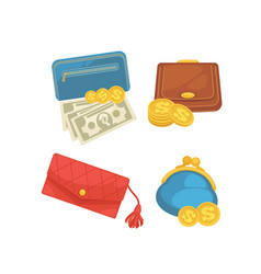 icons set of wallets with money shopping vector image