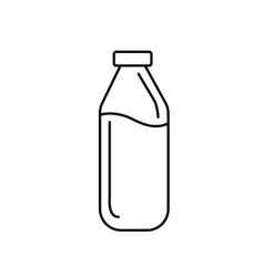 Line milk bottle glass with calcium nutrients vector