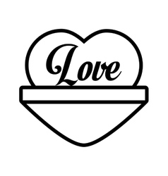 Love heart message outline vector
