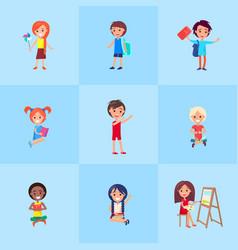 playful children showing emotions poster vector image vector image