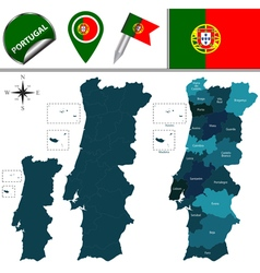 Portugal map with named divisions vector
