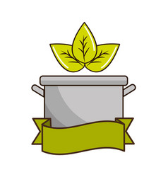 Pot kitchen with leaves and ribbon vector