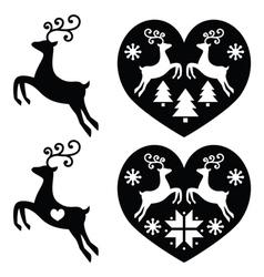 Reindeer deer jumping christmas icons set vector