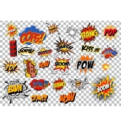 retro cartoon explosion pop art comic set vector image vector image