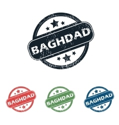 Round baghdad city stamp set vector