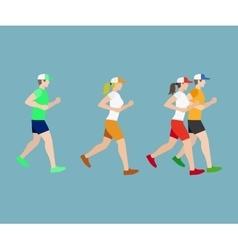 Run man and woman flat icons vector