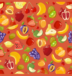 Scattered fruits summer seamless pattern vector
