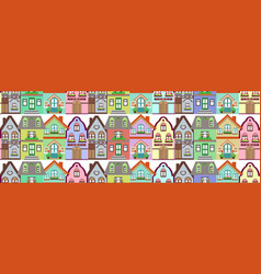 seamless pattern colorful cottage houses vector image