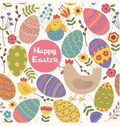 seamless pattern happy easter vector image