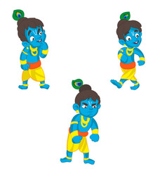 Set of little krishna cartoon on a vector