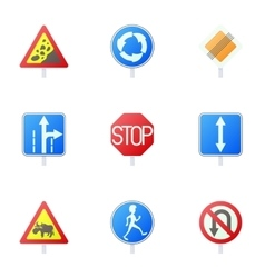 Sign icons set cartoon style vector image vector image