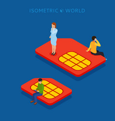 sim card flat isometric concept web vector image vector image