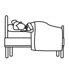 sleeping in bed vector image vector image