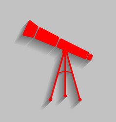 Telescope simple sign red icon with soft vector