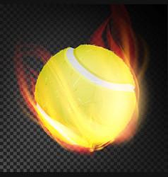 tennis ball realistic yellow tennis ball vector image vector image