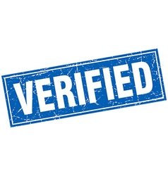 Verified blue square grunge stamp on white vector