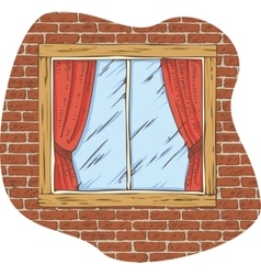 Wooden Window with Red Curtain on a Brick Wall vector image