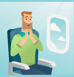 Young caucasian man suffering from aerophobia vector
