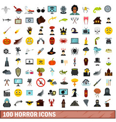 100 horror icons set flat style vector