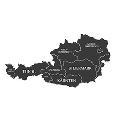 Austria map with labels black vector