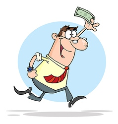 Happy Businessman Running With Dollar In Hand vector image
