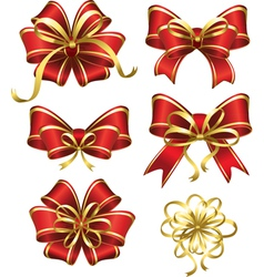 Set of red gift bows vector
