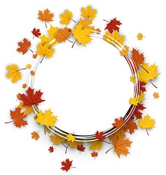 Autumn round background with maple leaves vector