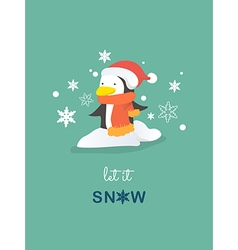 Penguin christmas card vector