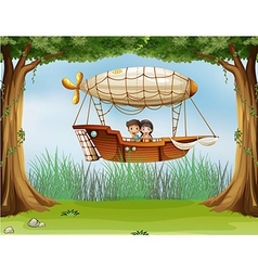 Kids riding in an airship vector