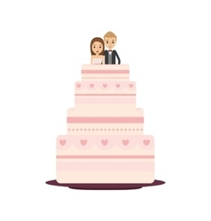 Delicious wedding cake with couple vector