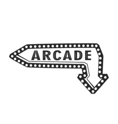 Arcade light sign arrow vector