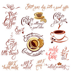 Set of coffee cups icons stylized sketch symbols vector