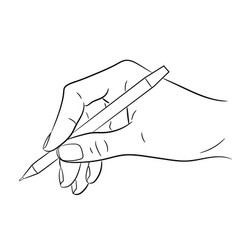 hand holding a pen on white background vector image