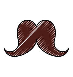 cute scribble moustache cartoon vector image