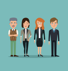Color background full body set people executives vector
