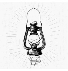 Vintage hand drawn lamp vector