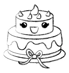 Delicious cake celebration kawaii character vector