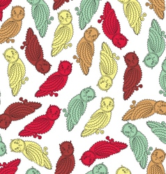 Colorful Owls Endless Seamless Pattern vector image