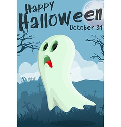 Halloween cartoon ghost vector