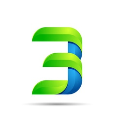 3d Number three 3 logo with speed green leaves vector image vector image