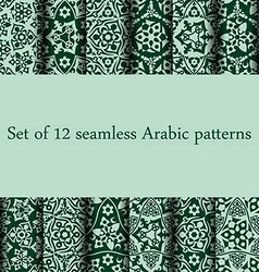 Set of 12 arabic patterns vector