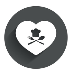 Chef hat sign icon love cooking symbol vector