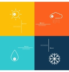 Icons indicate weather clear cloudy rain snow vector