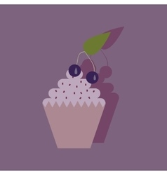 Flat with shadow icon cupcake cherry vector