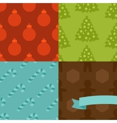 Set of merry christmas and happy new year seamless vector