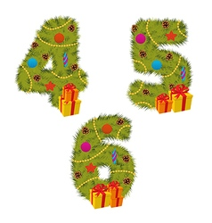 Set of numbers christmas tree from 4 to 6 vector