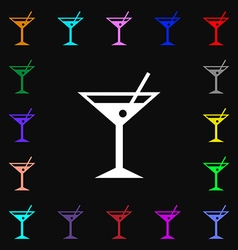 Cocktail martini alcohol drink icon sign lots of vector