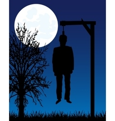Dead body on gallows vector